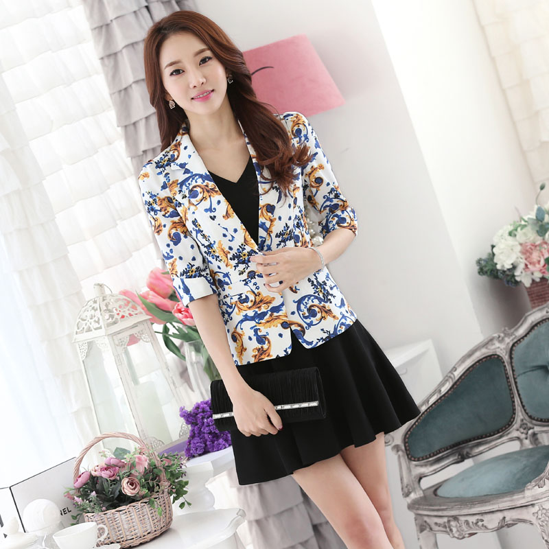 Slim Fashion Floral 2016 Spring Summer Professional Suits With Jackets And Dress Office Ladies Blazers Outfits Beauty Salon
