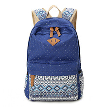 Ethnic Women Backpack for School Teenagers Girls Vintage Stylish Ladies Bag Backpack Female Purple Dotted Printing High Quality(China (Mainland))