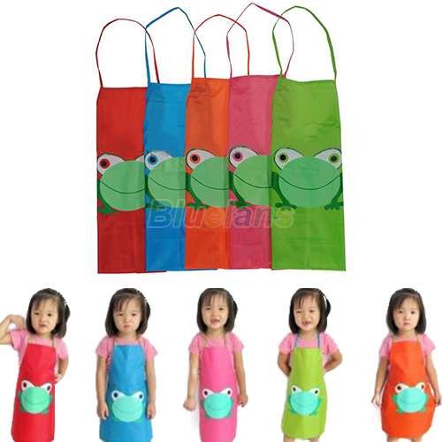 New Cute Kids Child Children Waterproof Apron Cartoon Frog Printed Painting Cooking Apron 1GE4(China (Mainland))