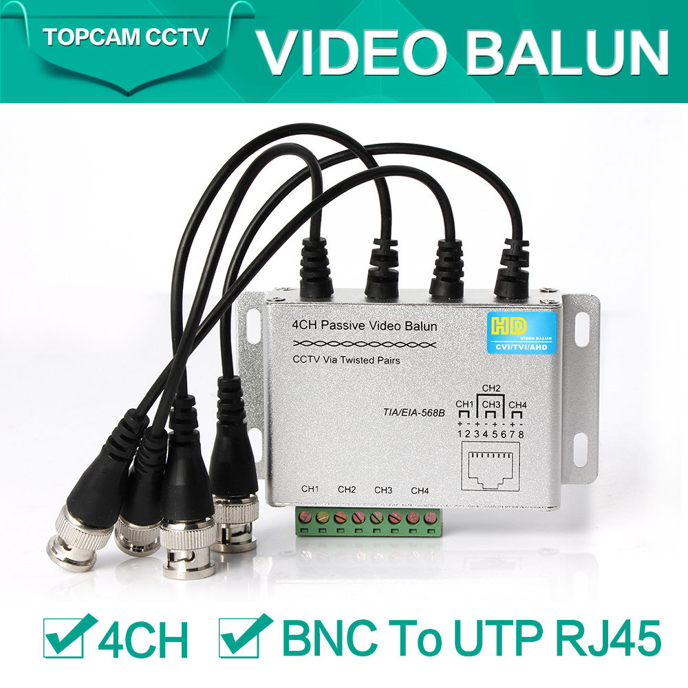 4Ch CCTV BNC Video Balun RJ45 Port Or Terminal Block Cable Transfer Video Converter Plug and Play Support 720p CVI Camera 400m(China (Mainland))