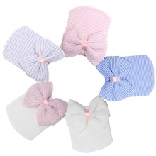 1 PC Winter Autumn Warm Cute Baby Infant Toddler Newborn Striped Caps Hospital Hats Soft Beanies Bow Hats 0-3M(China (Mainland))