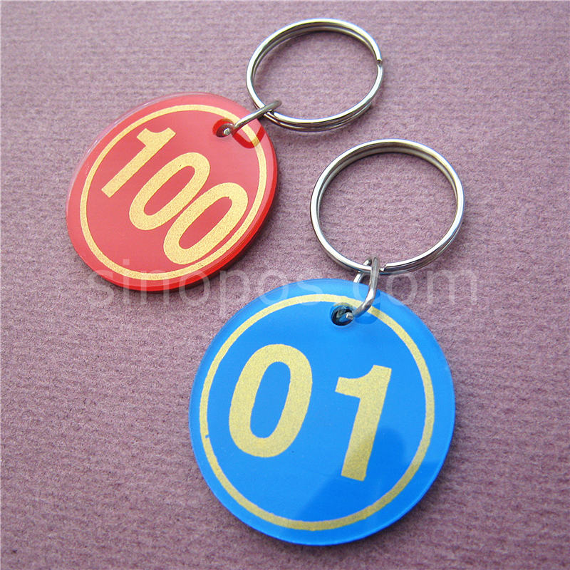 Acrylic Numbered Tags 1-100 With Key Ring, plastic discs serial numbers label locker luggage checkroom ID digit cards key tags(China (Mainland))