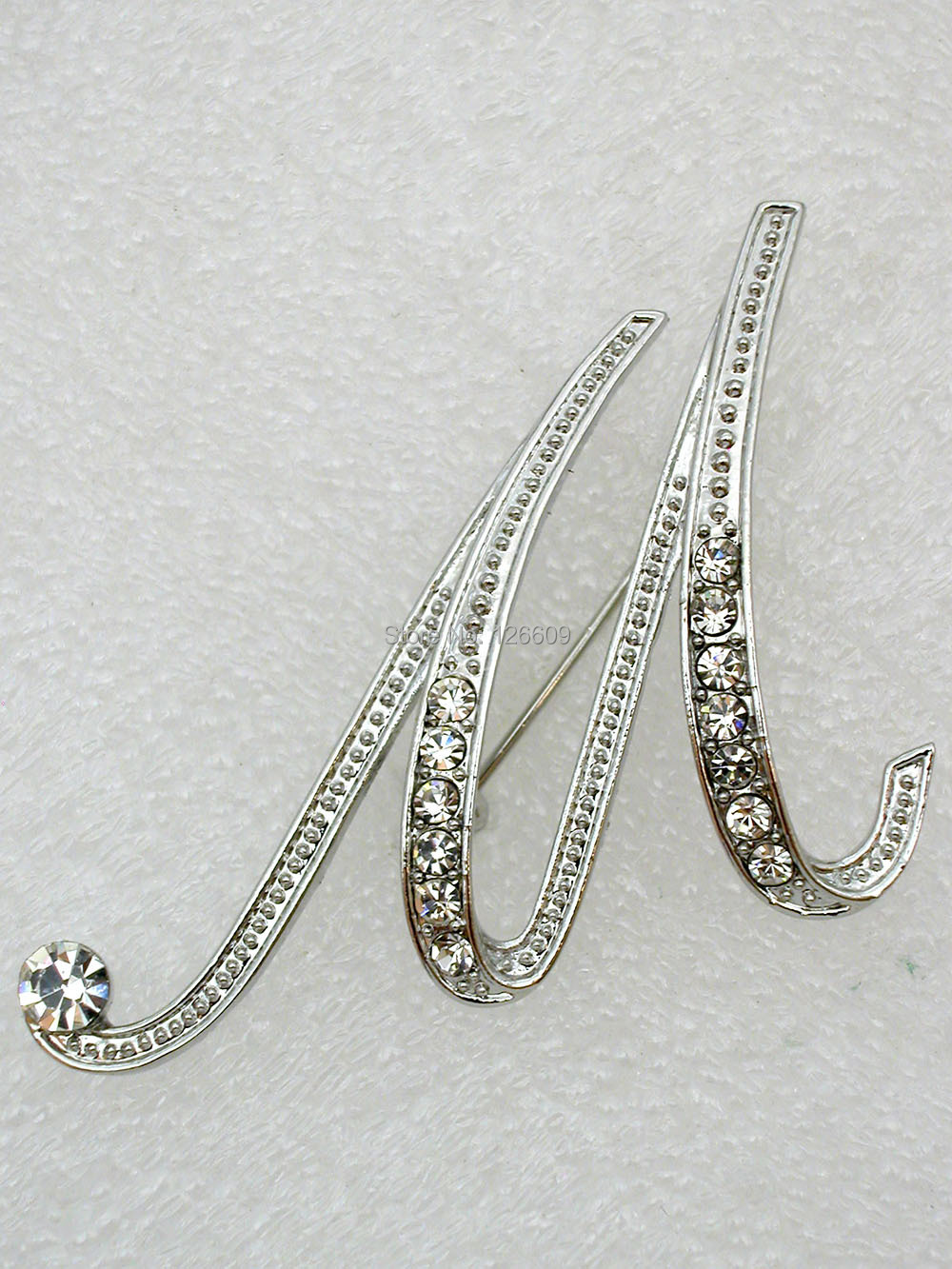 Clear Rhinestone Fashion Clothing letters M Crystal brooches pins gift jewelry C2070-M - Wei's Mall store