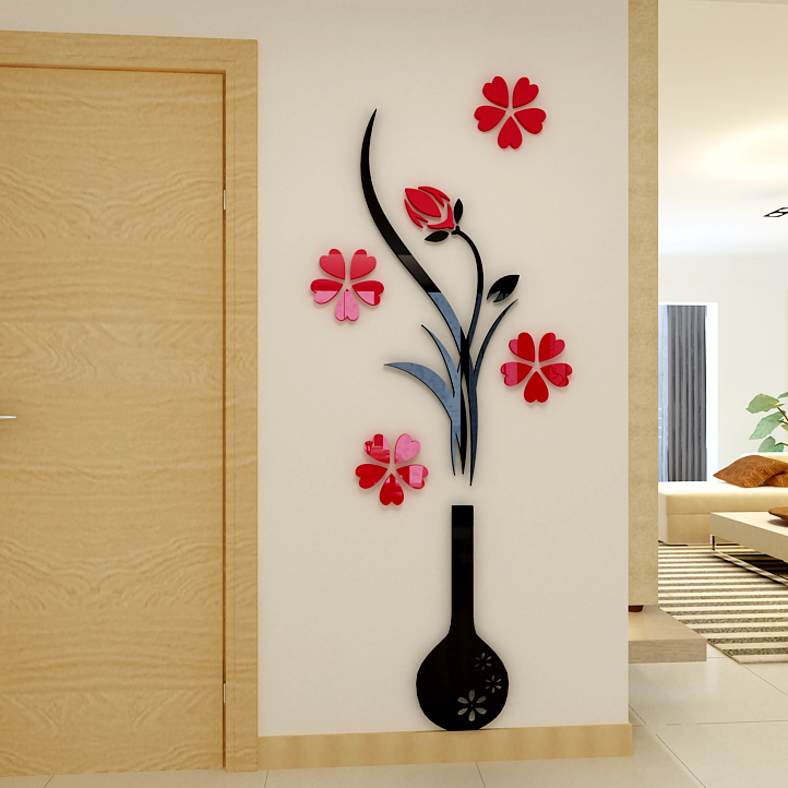 Vase Plum flower 3d three-dimensional Crystal Acrylic wall stickers Living room sofa bedroom TV backdrop decoration(China (Mainland))
