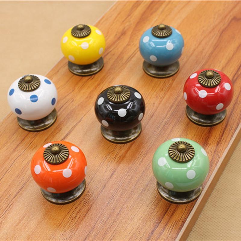 8pcs Furniture Knobs Handle Ceramic Dot Cabinet Door Cupboard Drawer Handle Knobs Decorative Ceramic Knobs Decoration -46(China (Mainland))