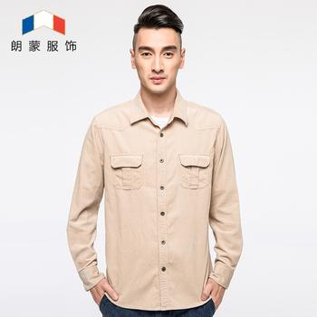 Приходят 100% хлопок осень весна вельвет рубашка мужчины приталенный Fit свободного ...