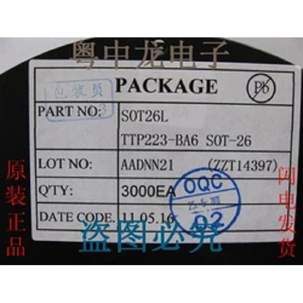TTP223-BA6 -touch touch screen 223B Winton capacitive touch buttons IC chip SMD SOT23(China (Mainland))