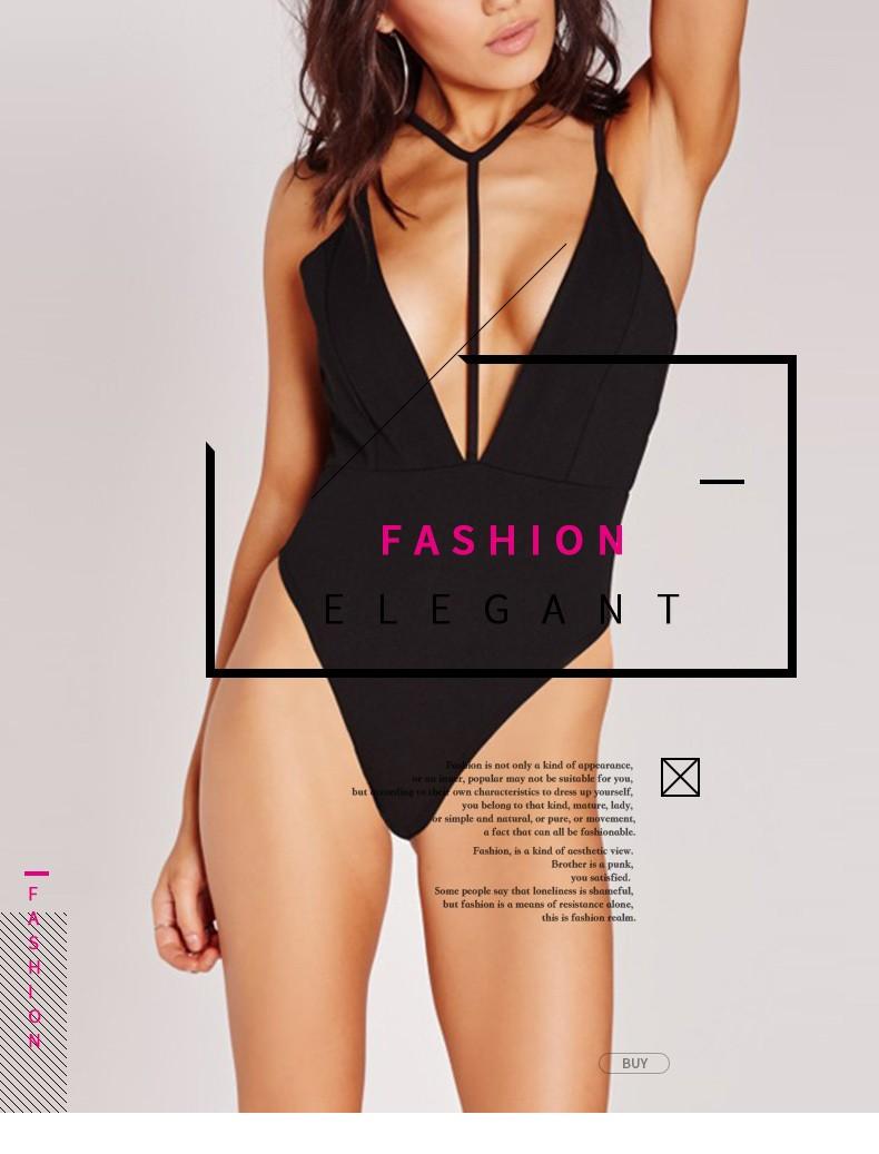 HDY Haoduoyi 2016 Mulheres de Moda de Nova Oco Out Backless Sexy Profundo Decote Em V Alcinhas Romper Bodysuit Básico