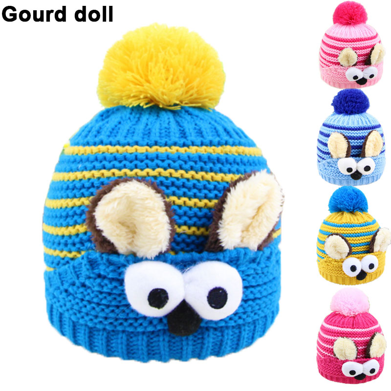 Baby boys girls winter hat kids baby photo props beanie,faux rabbit fur gorros bebes crochet beanie toddler cap for 0-3 years(China (Mainland))