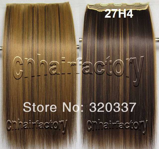 Wholesale Hairpieces Heat Resistant Synthetic Hair Clip in Hair Extensions Straight Long Hair Extension Clip in on Hair #27H/4(China (Mainland))