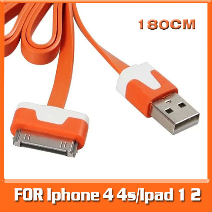 HOT 2015 Noddle 180CM/5.9FT USB Data Sync Protable Charger For Apple iphone 4/4s/Ipad 1 2/3 3gs Charger Free Shipping(China (Mainland))