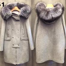 2015 winter plus size 5xl elegant  fur collar woolen overcoat  woolen female outerwear winter  women woolen overcoat