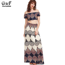 Buy Dotfashion Sexy Boho Two Piece Set Women Vintage Print Shoulder Crop Top Maxi Skirt 2017 New Casual Beach Two Piece Set for $23.98 in AliExpress store