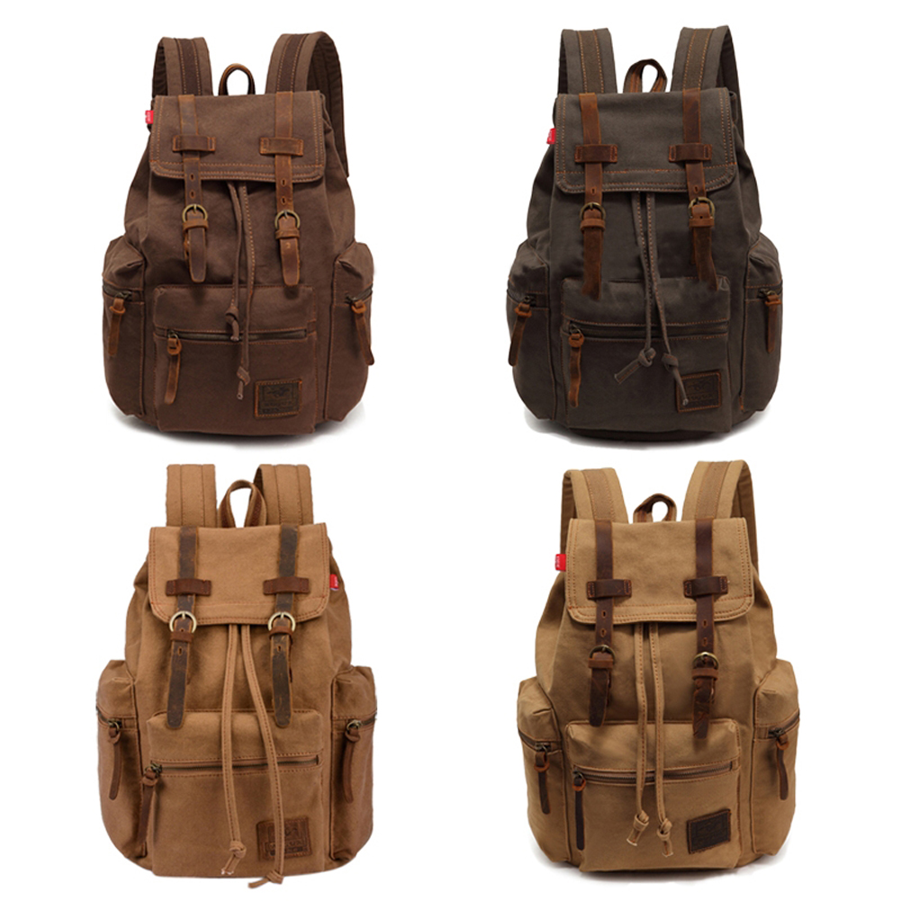 Vintage Men Casual Canvas Leather Backpack Rucksack Satchel Hiking Bag School Bag 5 Color BS88(China (Mainland))