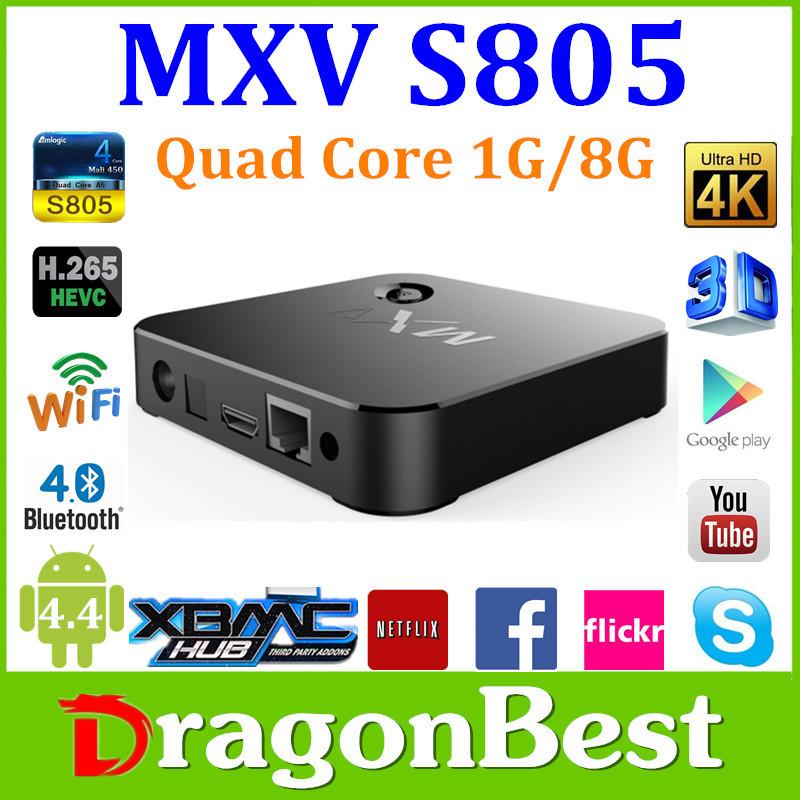 2015 MXV android 4.4 TV BOX Amlogic S805 Quad-Core Cortex-A5 1.5GHz kodi 1GB+8GB wifi 4 high speed USB 2.0 3D player Free Ship(China (Mainland))