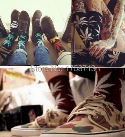 1 пара клен листья хафф носки каннабис марихуана сорняк носки длинная скейтборд хип-хоп calcetines мейя женщины унисекс пары