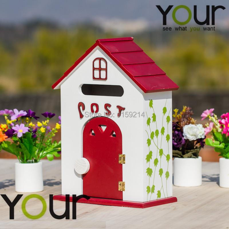 floor type red wood letter box Free Shipping European garden Iron crafts newspaper mailbox Rain Proof Outdoor mailboxes(China (Mainland))