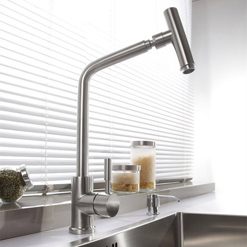 Sus 304 stainless steel rotatable modern kitchen faucet for Designer kitchen faucets