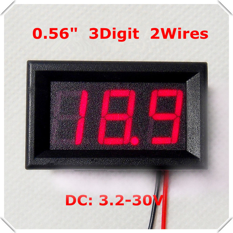"Intelligent sensor five LED display Color 0.56"" Digital Voltmeter DC 3.2-30.0V 3bit 2 wires car Voltage Panel Meter(China (Mainland))"