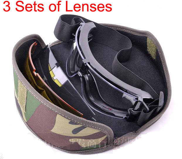 X800 3 lenses Military Tactical Combat Airsoft Ballistic BB Bulletproof Goggles Outdoor Eyewear Cycling Antifog Sunglasses(China (Mainland))