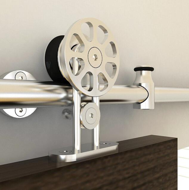 stainless steel sliding barn wood door hardware top mounted barn hanger track<br><br>Aliexpress