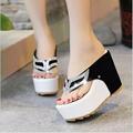 Thick Bottom Platform Flip Flops Rhinestone Wedge Heel Shoes Patchwork Woman Summer Sandals WA 216