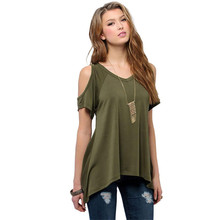 Delicate Promotion 2015 Summer Sexy T Shirt Women Casual V-Neck Off Shoulder T-Shirt Short Sleeve Solid Stretch T-Shirt dcuxi(China (Mainland))