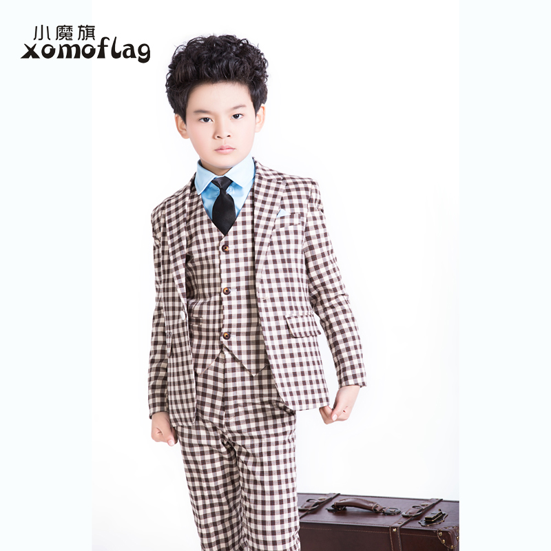2015 fashion baby boys blazers suits casual plaid kids costume wedding prom party wedding children clothing flower boy outfit(China (Mainland))