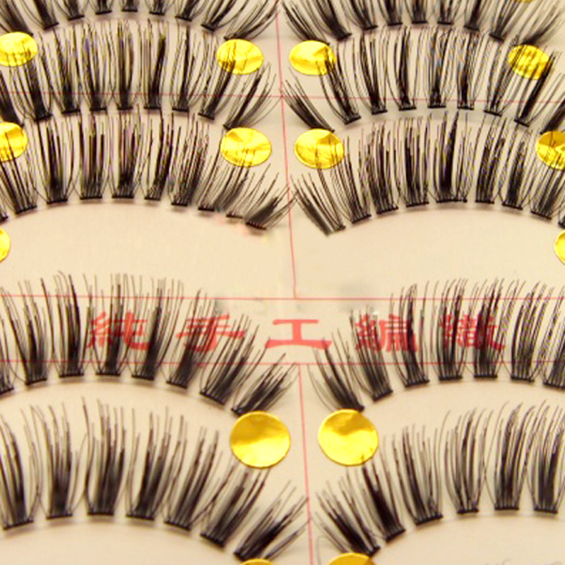 New 10 Pairs Handmade Fake False Eyelash Lashes Natural Transparent Stem Black free shipping(China (Mainland))