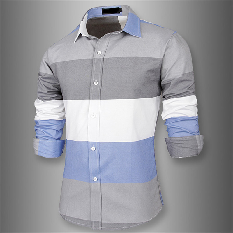 2015 brand new great striped men shirts long sleeve cotton for French cuff slim fit dress shirt