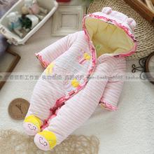 Free shipping new 2014 winter Baby girl clothing newborn cotton cartoon striped bodysuits warm wear(China (Mainland))