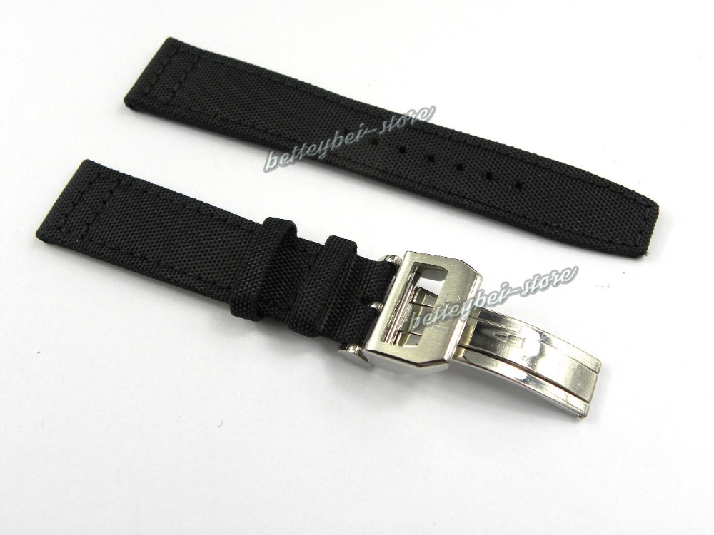 22mm(18mm clasp) hot sell free shipping new men strap black Nylon+ leather band buckle deployment clasp watchband for iwcwatch<br><br>Aliexpress