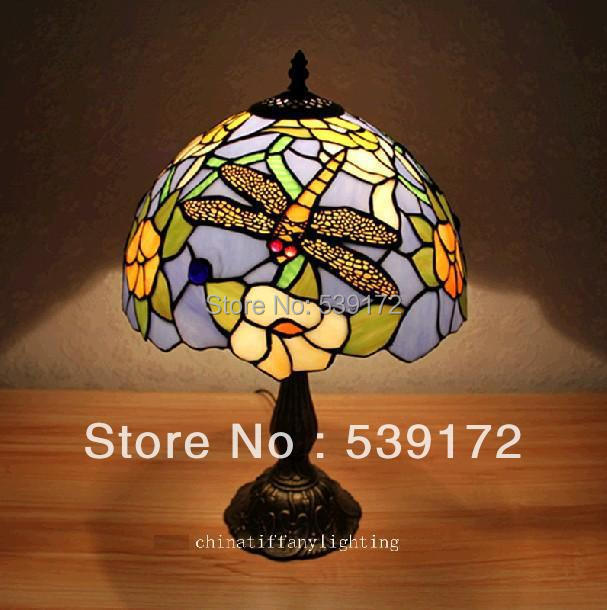 Free Shipping 12 Inch Shell lamps, tiffany lamp,Free 5W E27 LED Bulb for promotion, table Lamp for bedroom 90-260V AC TEN-T-054(China (Mainland))