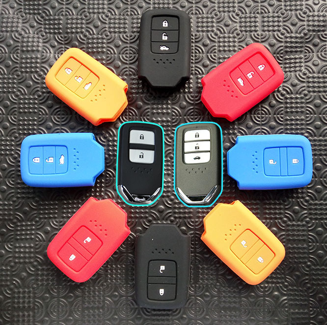 FIT FOR HONDA FIT JAZZ CIVIC ACCORD EURO CRIDER JADE HRV VEZEL ODYSSEY 2014-2016 SILICONE SMART KEY COVER FOB REMOTE CASE SHELL(China (Mainland))