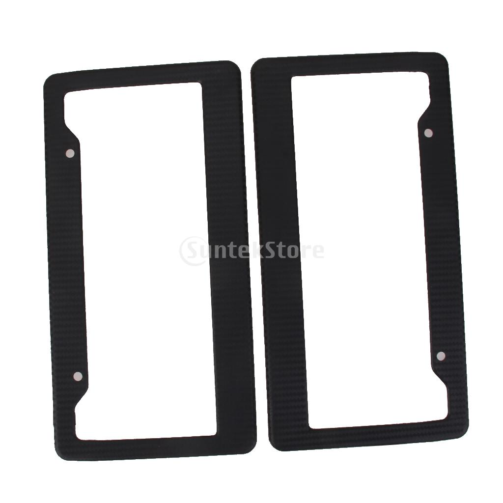 2x High Quality Universal Black Carbon Fiber Printed Style Front/Rear License Plate Frame Car Truck(China (Mainland))