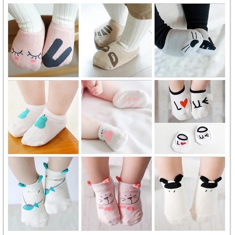 (1lot=2Pairs) 0-2Y Infant Baby Slipers Floor Cotton Socks Bebe boys girls kids cute Asymmetric animal rabbit rat bear cartoon(China (Mainland))