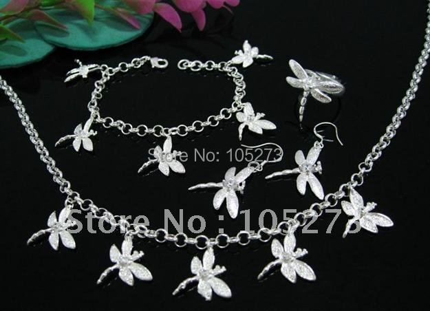 Wholesale price 925 sterling silver dragonfly jewelry set fashion jewelry set nice for girls womens gift new free shipping<br><br>Aliexpress