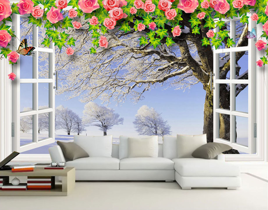 Fashion house living room wallpaper white window winter for Beautiful wall mural