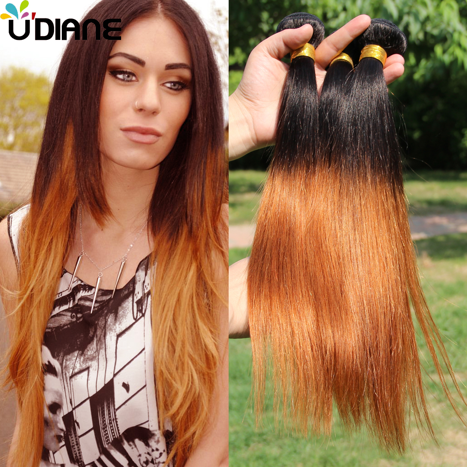 Two Tone Peruvian Virgin Hair Ombre Straight Human Hair Bundles 4PCS 7A Ombre Hair Extensions 10-30 1B/30 Ombre Hair Weft 2SD23