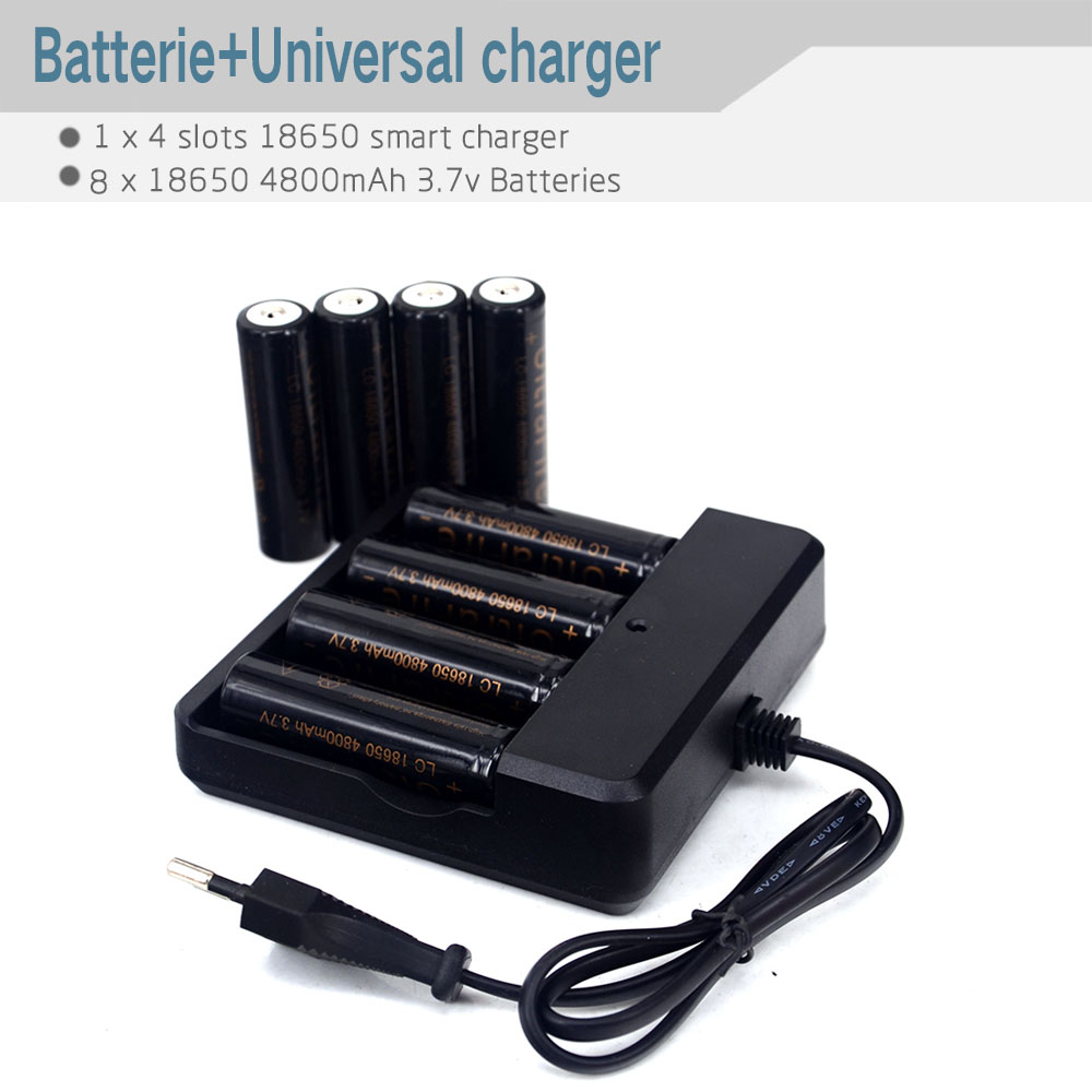 Battery Charger 18650 26650 Auto Off 4 Ports Adjustable Battery Charger + 8pcs 18650 3.7V Rechargeable Li-ion Battery 4800mAh(China (Mainland))