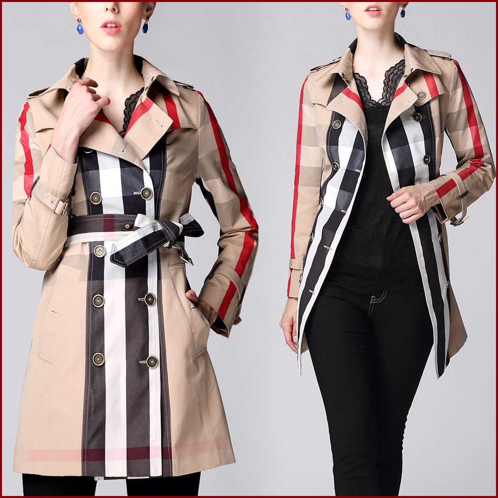 Fasicat Plaid Pattern Trench Coat Turn Down Collar Double Breasted Cotton Slim Women Spring Coat abrigos mujer 9068(China (Mainland))