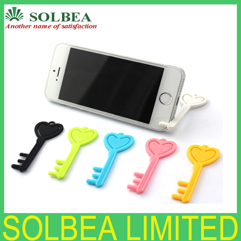 100pcs New arrival 3D key phone stand fit all smartphone candy color Key stander as mobile bracket cell phone holder series+box(China (Mainland))