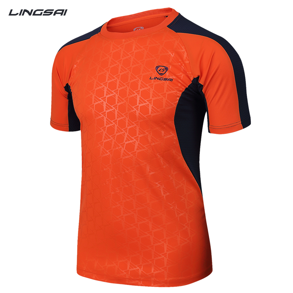 LINGSAI Brand New Arrival 2017 men Designer soccer jerseys T Shirt sports Quick Dry Slim Fit causal shirts Tops & Tees M_XXXL(China (Mainland))