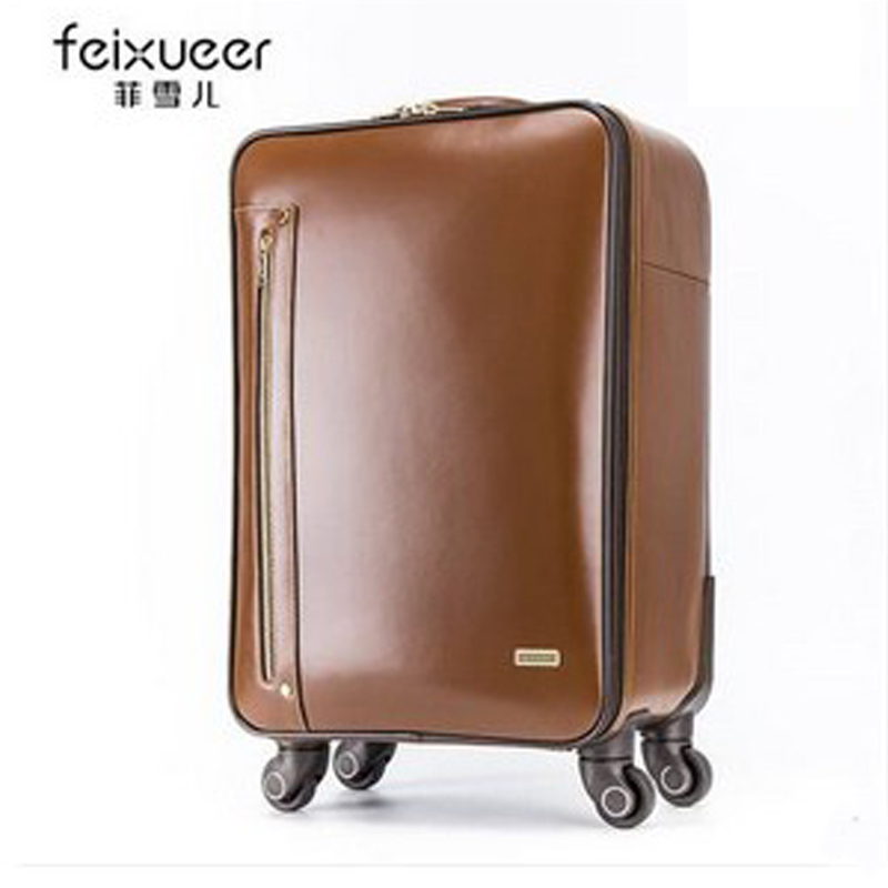feixueer Weinstein cowhide universal wheels trolley luggage suitcase 20 commercial genuine leather luggage travel bag luggage<br><br>Aliexpress