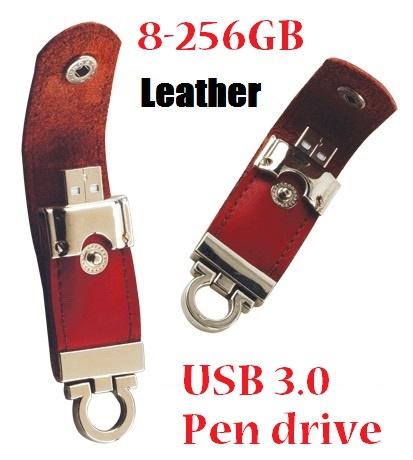 (Can be printed LOGO ) Usb 3.0 leather Usb flash drive 8gb 16gb 32gb 64gb 128gb 256gb PenDrive Flash Memory 100pcs/lot(China (Mainland))