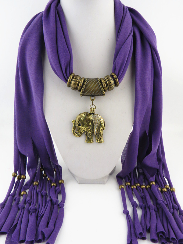 Fashion Fringed scarves Antique Bronze Color Elephant Pendant scarf Free Fast Shipping - Jewelry Scarf Shop store