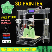 New Acrylic Frame Reprap Prusa I3 DIY 3D Printer 3 D impressora KIT Printer machine with LCD Screen 4G SD Card Filament optional