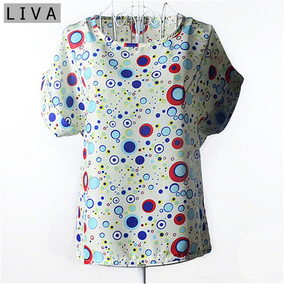 Summer Vintage Wheels Blusas Femininas Womens O-Neck Front Up Short Sleeve Blouse Sexy Multicolor Chiffon Shirt Tops Plus Size (34)