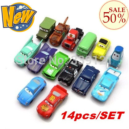 NEW!!!14PCS/SET pixar cars 2 truck sport toy cars set for kids children Christmas Gift with wholesale price free shipping(China (Mainland))