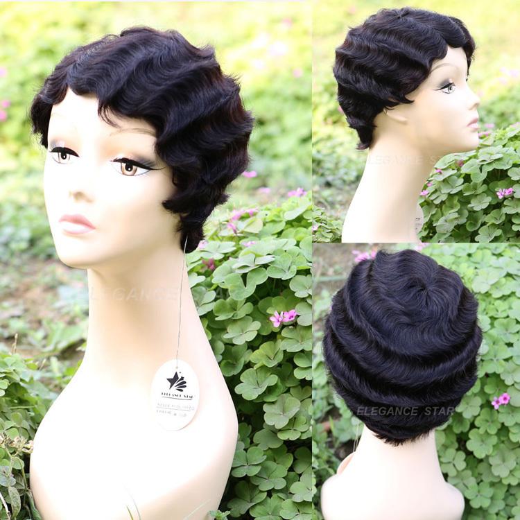 Hot Customer like Indian Natural Black Short Human Hair Deep Curly Wave Wig Friday/ Super Deal Day Mommy Wig(China (Mainland))